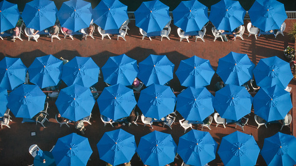 Aerial view of picnic umbrellas