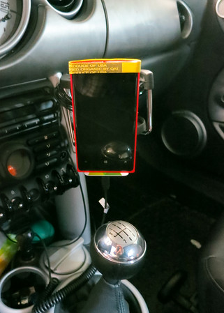 Phone mounted in car
