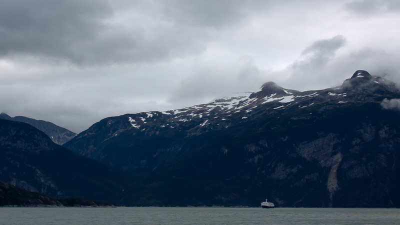 The ferry M.V. Columbia crosses the Lynn fjord in Haines
